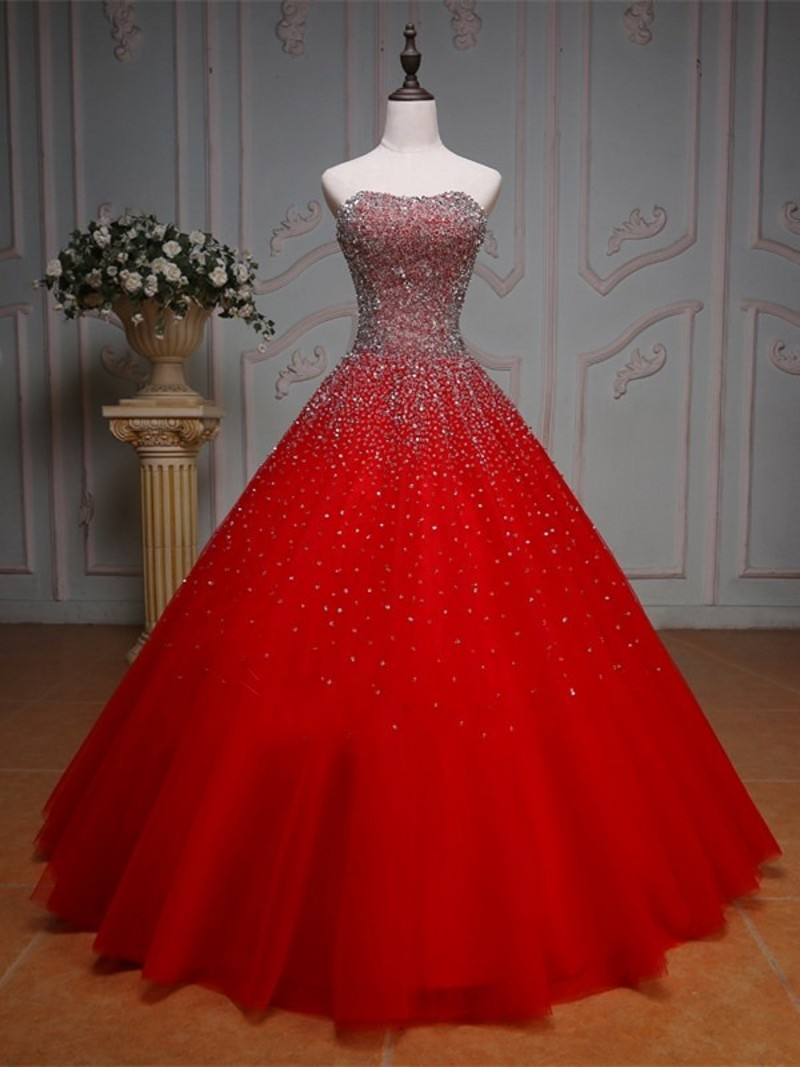 Hot Sale Red Color Wedding Dresses 2017 Sweetheart Beaded