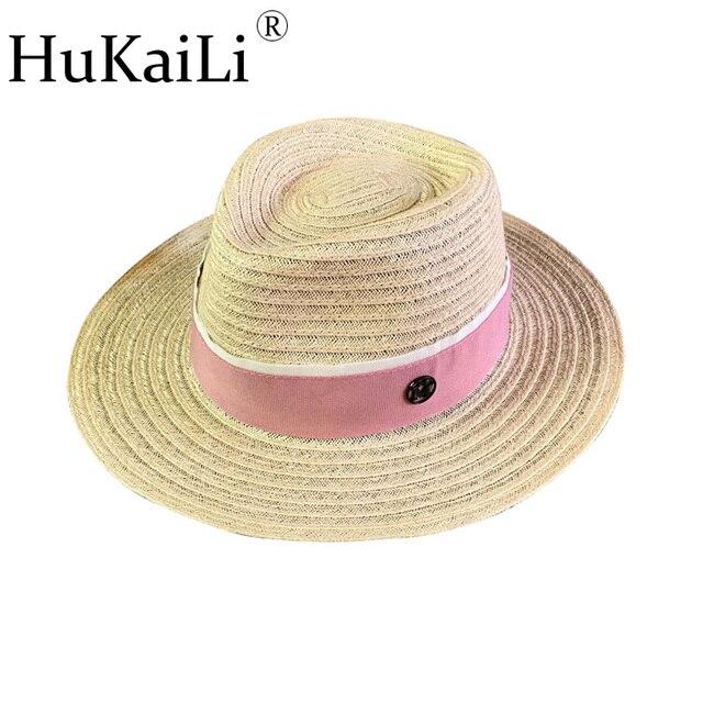 Un nuevo par de negro M del sombrero de paja corazones corta aleros topi lino se previene toma el sol en dulce ocio capo rafia
