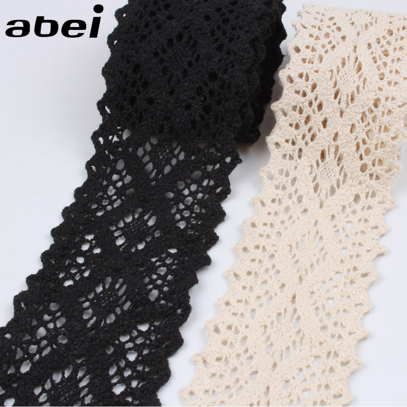 5cm 2Yards/lot Beige Black Cotton Material Lace Trims Apparel Accessories DIY Patchwork Handmade Wedding Scrapbook Craft Decors
