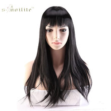 SNOILITE 22inch Full Wig Real Thick Synthetic Long Straight Hair Wigs for Women Daily Costume Heat Resistant Fiber