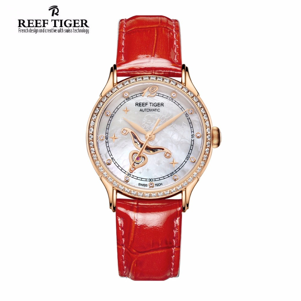 цены Reef Tiger Fashion Diamonds Watches for Women White MOP Dial Miyota Automatic Watch with Calfskin Leather Strap RGA1550