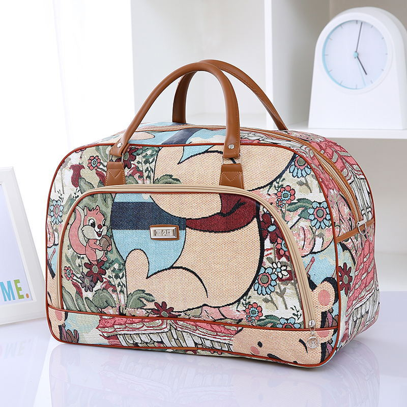 Women Travel Bags Pu Leather Large Capacity Waterproof Print Luggage Duffle Bag Casual Travel Bags Overnight Bag