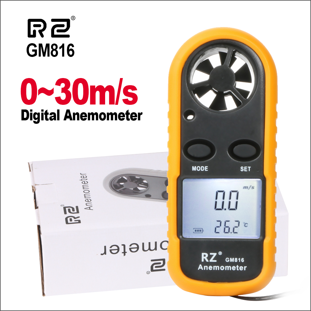 RZ Portable Anemometer Thermometer Wind Speed Gauge Meter Anemometro  Windmeter 30m/s LCD Digital Hand-held  Measure Tool GM816