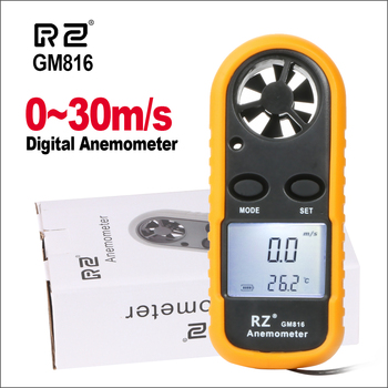 RZ przenośny anemometr termometr wiatr wskaźnik prędkości miernik Anemometro miernik wiatru 30 m s LCD cyfrowy ręczny narzędzie do pomiaru GM816 tanie i dobre opinie GM816 RZ818