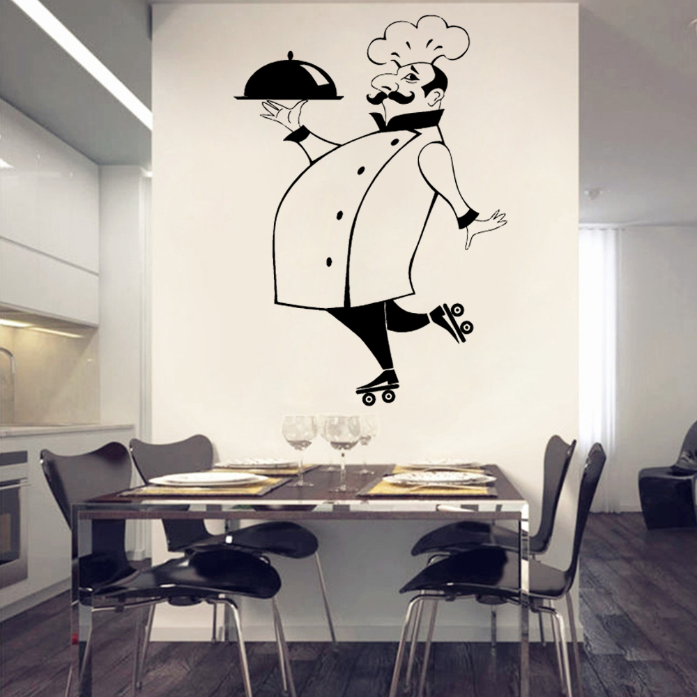 Merveilleux Kitchen Vinyl Wall Art Stickers Chef De Cuisine Removable Wall Decals Vinyl  Art Home Decor Mural Accessories