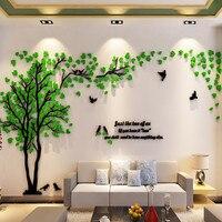 Большой размер Дерево акриловая декоративная 3D настенная наклейка DIY арт ТВ фон настенный плакат домашний декор спальня гостиная настенная...