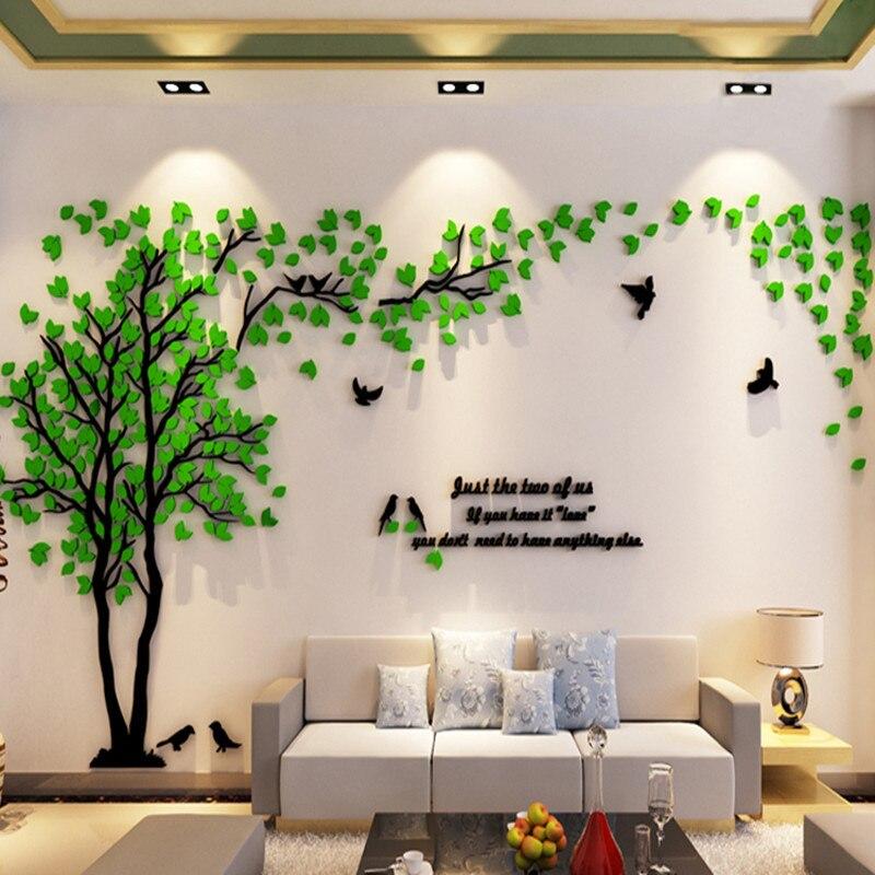 Büyük boy ağaç akrilik dekoratif 3D duvar Sticker DIY sanat TV arka plan duvar posteri ev dekor yatak odası oturma odası Wallstickers