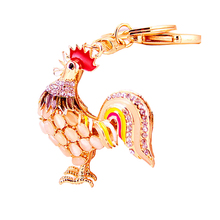 Charm Jewelry Luxury Rhinestones Cock Keychain Bag Keyfobs Women Handbag Rooster Pendant Fashion Alloy purse Key Holder R051
