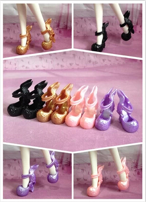 100Pairs/lot NEW Arrival Fashionable Demon Monster Doll Shoes Chinese Dragon Design High-heel 1/6Dolls Short Boots Shoes 4Colors