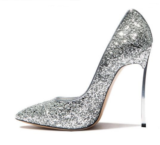 Sexy Bling Bling Sequin Blade Heel Pump Pointed Toe Slip-on Women High Heel Dress Shoes Metal Heel Glitter Shoes Big Size 10 2018 women yellow high heel pumps pointed toe metal heels wedding heel dress shoes high quality slip on blade heel shoes