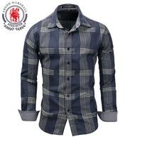 Top brand Men's Denim Shirts Men Long Sleeve Jean Striped 100% Cotton Male Brand Casual Shirt Camisa Masculina European Plus Siz