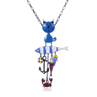 Yhpup 2017 France Brand Fashion Charm Pendant Necklace Girl Sister Gift Enamel Cat Fish Anchor Cute