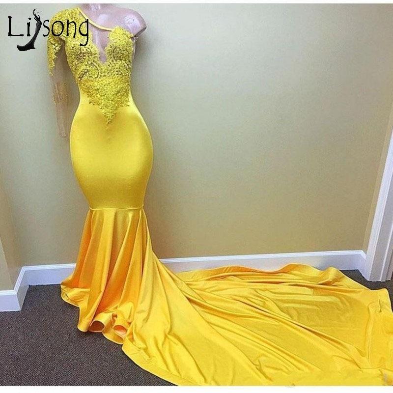 Yellow One Shoulder Lace   Prom     Dresses   Appliques Long Mermaid Evening Gowns Plus Size Elastic   Prom   Gowns Vestido Longo De Festa