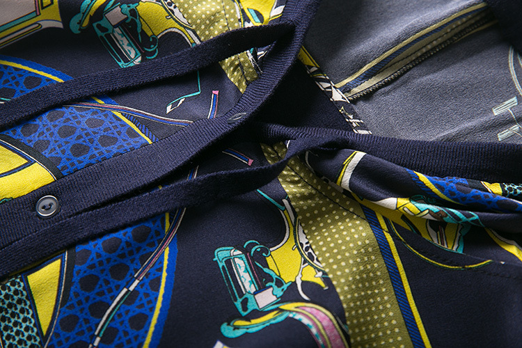 Soie Imprimé Transport Femmes Tricoté Printemps Marine Cordon De 2019 Vêtements Gilet Bleu Au Capuche y8nwmvON0