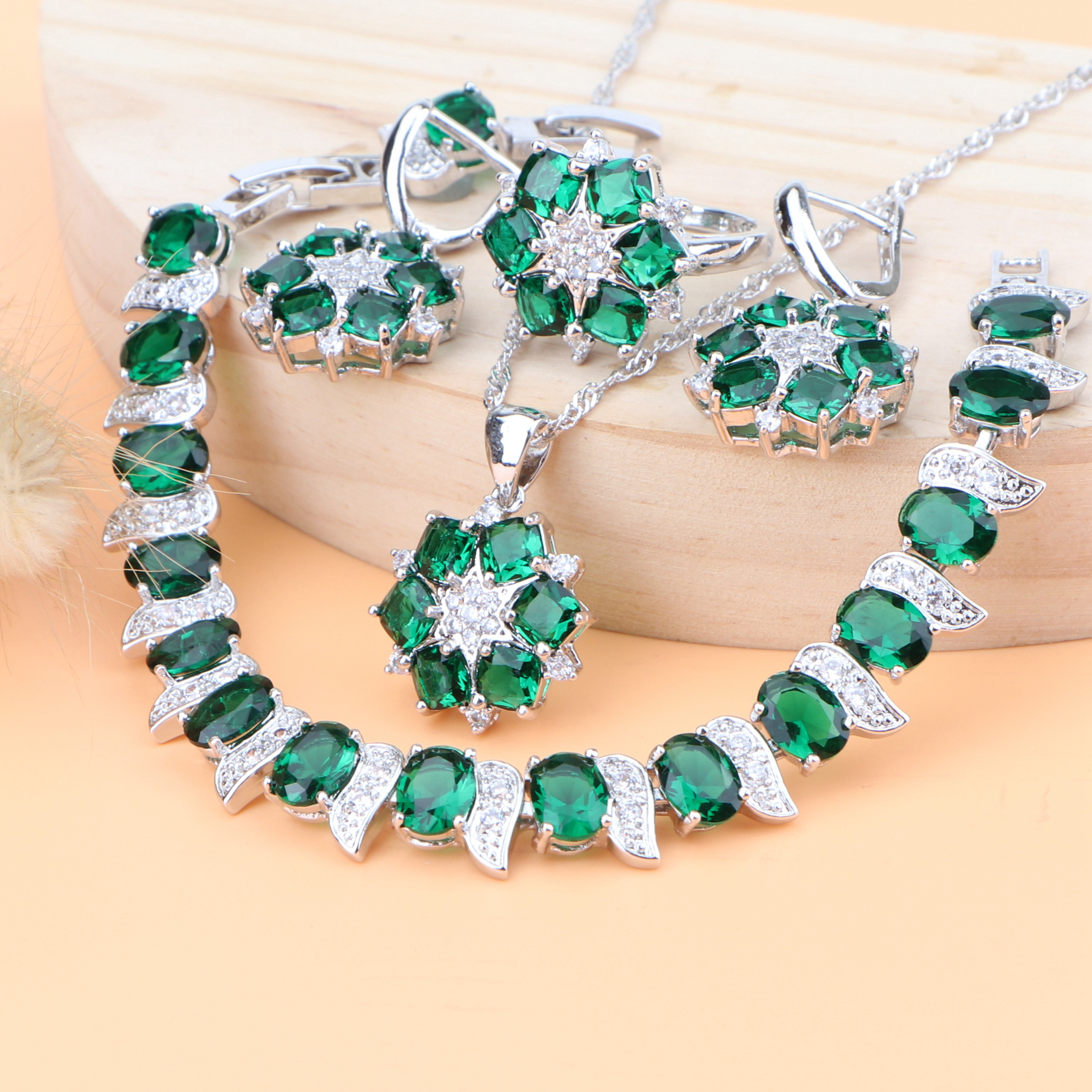Wedding Women Silver 925 Bridal Jewelry Sets Green Cubic Zirconia Earrings Costume Jewelry Bracelet Rings Necklace Set Gifts Box