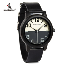 BOBO BIRD Ebony Wood Watch Men Timepieces Leather Strap Quartz Watches relogio masculino Mens Gifts Accept Logo Drop Shipping