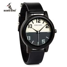 BOBO BIRD 에보니 우드 시계 남자 시계 가죽 스트랩 쿼츠 시계 relogio masculino 남자 선물 수락 로고 드롭 배송