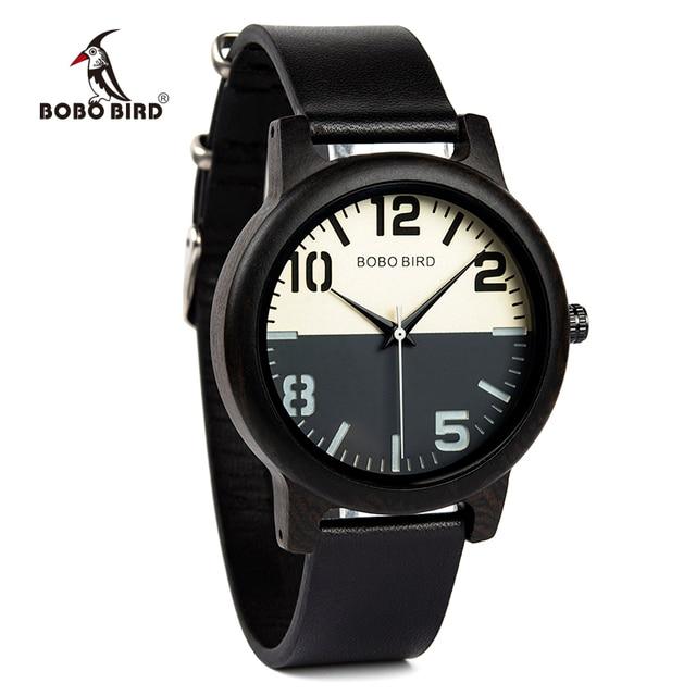 ボボ鳥黒檀腕時計メンズ時計レザーストラップクォーツ腕時計レロジオ masculino 男性のギフト受け入れるロゴドロップシッピング