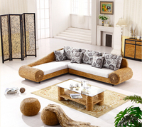 2016 new design fashion leisure handmade rattan sofa living room furniture round stool and tea table