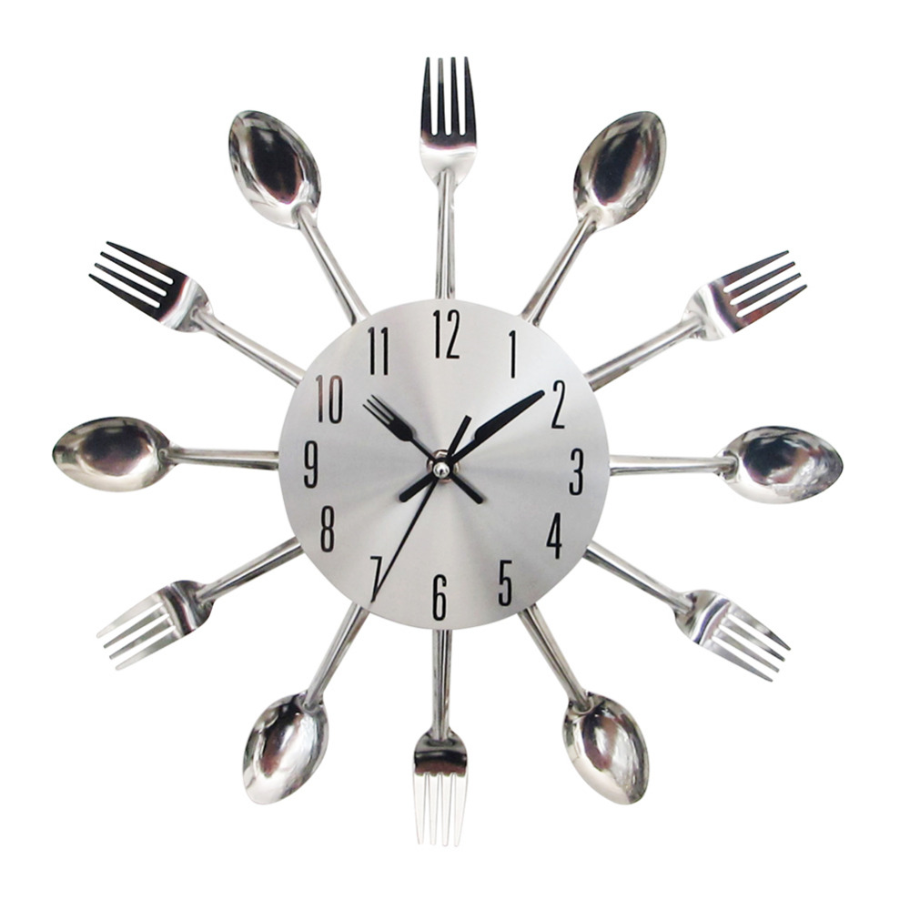 modern design silver wall clock cutlery kitchen wall clock spoon fork kitchen clockchina