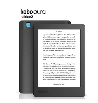 e-book Kobo Aura Edition 2 ebook reader Carta e-ink 6 inch resolution 1024x768 has Light 212 ppi e Book Reader WiFi 4GB Memory