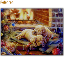 Peter ren Diy Diamond painting Cross stitch Animal dog Round/Square mosaic Full Embroidery with diamondsSleeping puppy