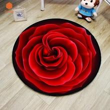 Новинка, круглый ковер, 3D Рисунок, красная роза, мягкие ковры, Противоскользящие коврики, коврики для компьютерного стула, напольный коврик для детской комнаты, домашний декор DT78