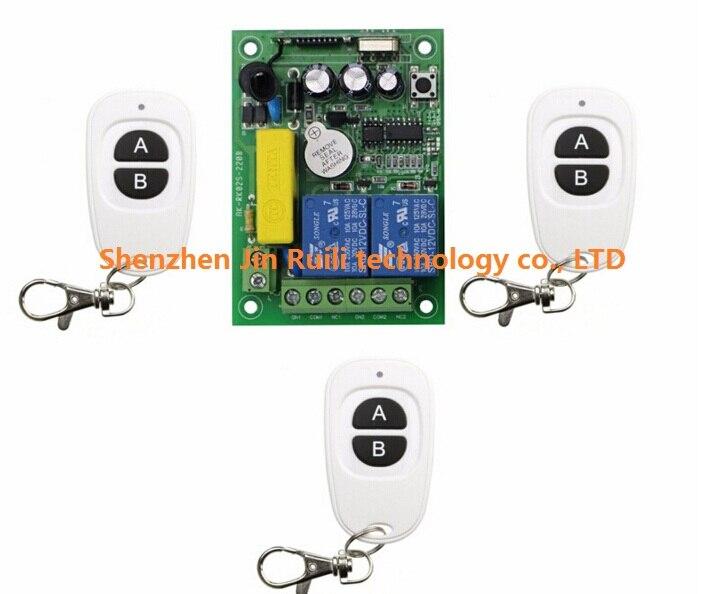 AC 220 V 2 canal Interruptor de Control Remoto Inalámbrico transmisor receptor +