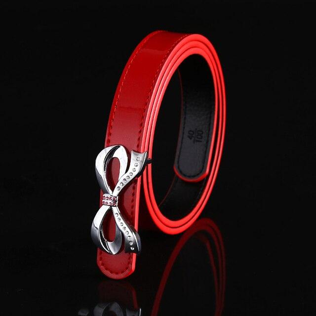 Ropa accesorios Cinturones de moda para las mujeres Rojo 100% de Cuero de Vaca Genuino de Split de cuero cinturones de hebilla de metal sólido de la correa femenina