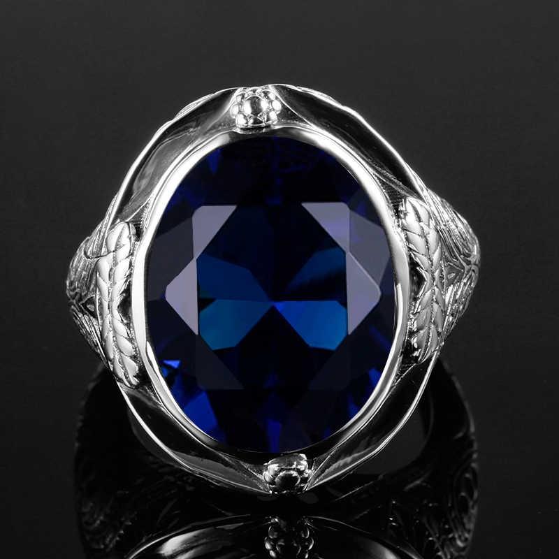 Szjinao แท้ Antique Big แหวนผู้หญิงแหวนบัลแกเรียเครื่องประดับหมั้น Vintage Charms เงิน 925