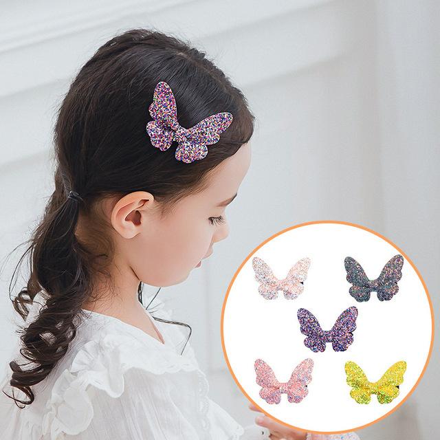 10 pcs. Glitter Sequins Butterfly Hair Bow Bundle Set