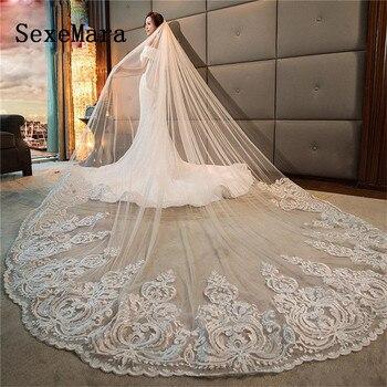 d230e394da Romántico de novia velo longitud de la catedral Apliques de encaje de 3 M  velo de boda con peine libre de blanco marfil de alta calidad