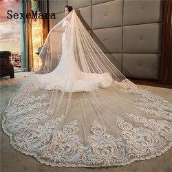 Romantische Lange Bridal Veils Kathedraal Lengte Lace Applique 3 M Bruiloft Sluier Met Gratis Kam Wit Ivoor Hoge Kwaliteit