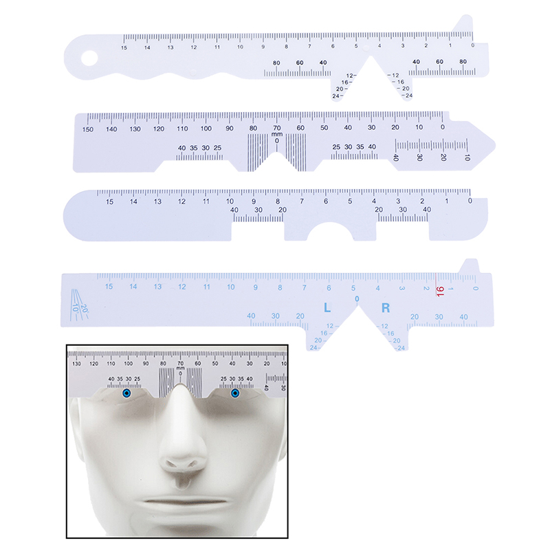4pcs/Set White Eye Straight Edge PD Ruler Pupillary Distance Rulers 4 Types
