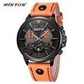 Ristos Sport Watches Men Luxury Orange Leather Strap Men Army Military Wristwatch Clock Male Quartz Watch relogio masculino 2016