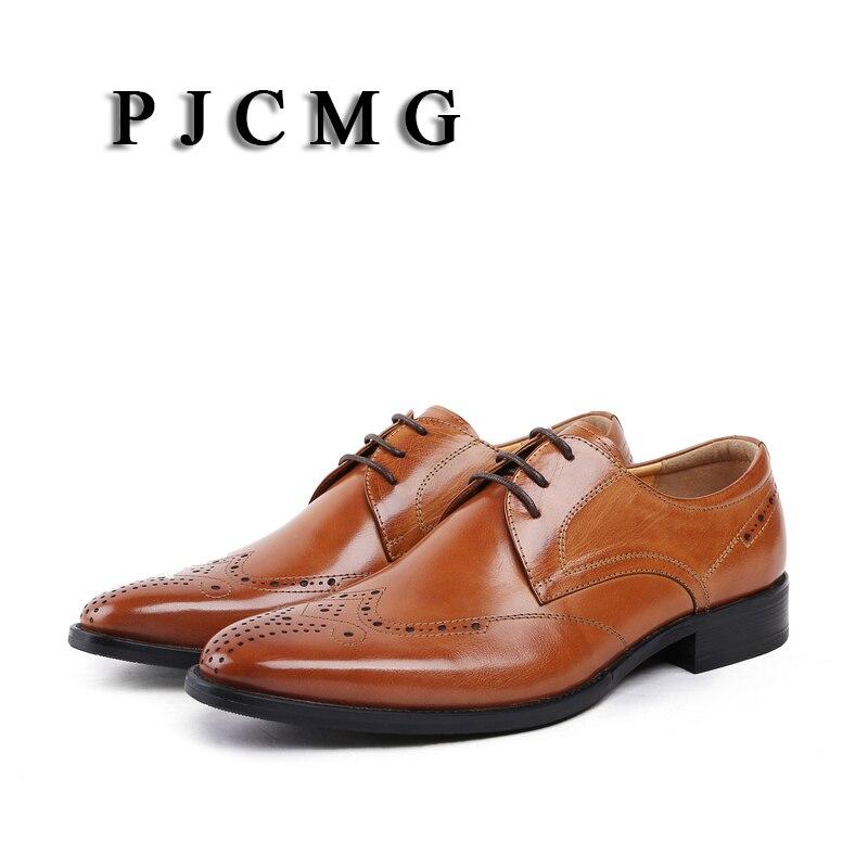 Couro Casamento Apontou Sólidos Moda De Sapatos 38 Masculinos Da Escritório brown 44 Toe Lace Pjcmg Genuíno Homens Tamanho Preto Oxford Black brown Vestido up xHn6v8w