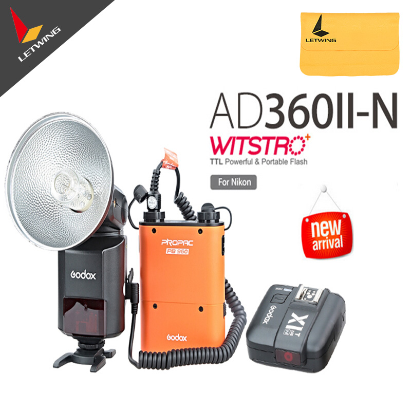 Godox Witstro AD-360 AD360II-N TTL Flash Speedlite + PB960 Battery Pack Orange+ X1N Wireless Transmitter for Nikon DSLR Camera godox ad360 camera outdoor shooting flash kit ad 360 360w flash ft 16 wireless trigger ad s17 diffuser 60 60cm softbox