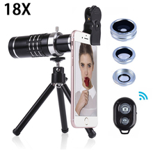 Buy online Newest 18X Telescope Zoom Telephoto Lentes For iPhone 8 7 Cell Phone Lenses 3in1 Fisheye Wide Angle Macro lens With Tripod Clips