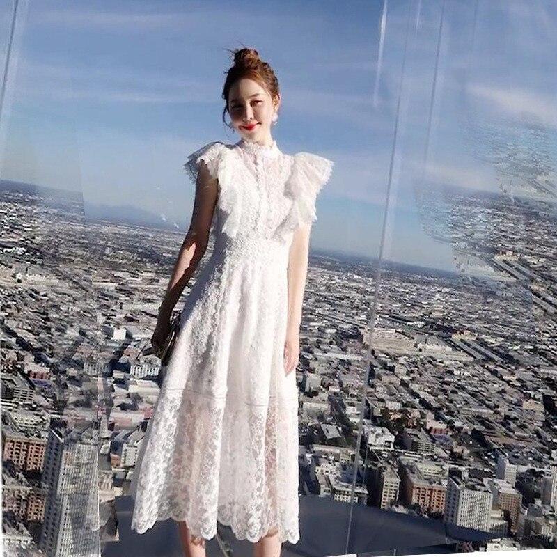 2019 nouvelle haute qualité premier amour jupe rétro longue dentelle à volants maille robes de princesse femmes sans manches longues dentelle robes de plage