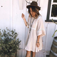 Jastie Boho Patchwork Lace Dress O Neck Kimono Sleeve Mini Dresses Women Casual Doll Dress Beach Vestidos 2018 Summer Dresses