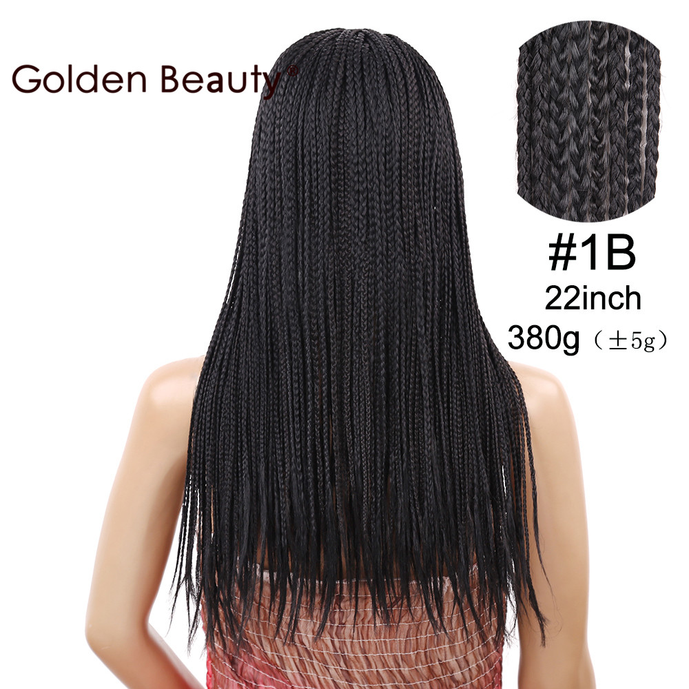 Golden Beauty 22inch Box Braid Wig Lång Svart Syntetisk Hår Paryk - Syntetiskt hår - Foto 3