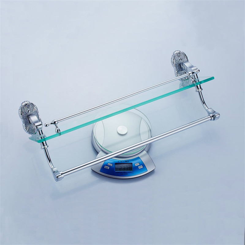 European Style Glass Shower Shelf White Shampoo Holder With Towel ...