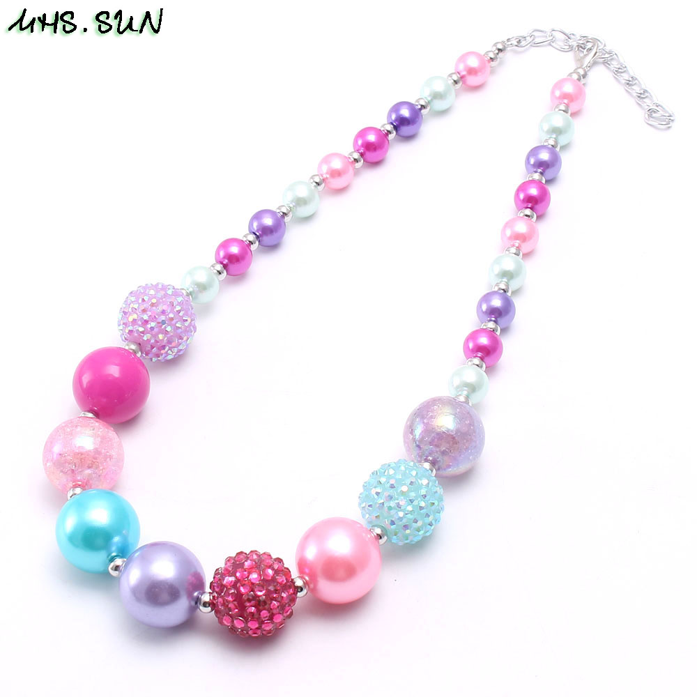 BN547-1 (2),$2.3. child chunky beads necklace colorful girls bubblegum necklace handmade jewelry for kids toy gift 1pcsJPG