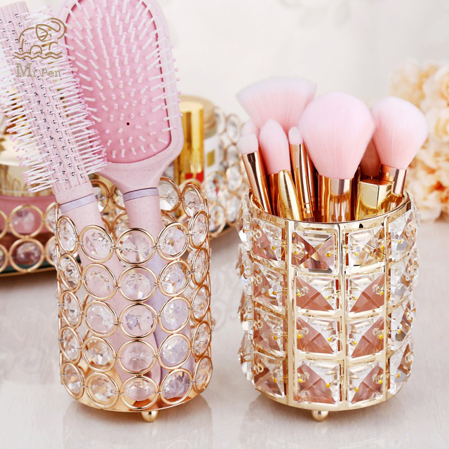 European Style Crystal Pencil Pen Holder Office Desk Cosmetic Makeup Brush Holder Eyebrow Eyeliner Container Gold Organizer
