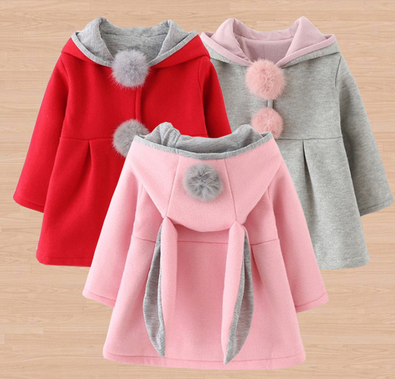 Newborn Girls Coat Baby Spring Autumn Jacket Kids Infant Rabbit Long Ear Hoodie Cotton Bebe Outerwear Children Girl Clothes Coat baby girls spring coat cartoon hello kitty spring and autumn clothes children outerwear girls cotton warm hoodies kids clothes
