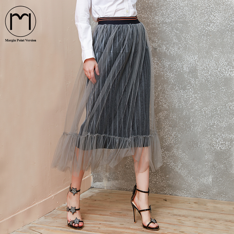Margin Point Version New 2018 Womens Velevt tulle Saia long pleated Skirt Casual Skirts Classy Ladies High Waist etek Skirts