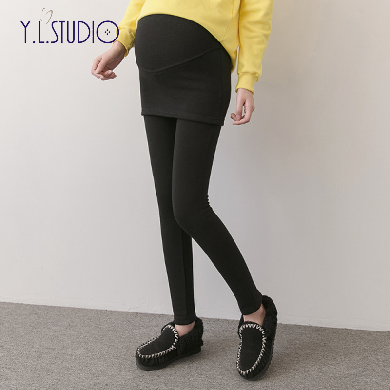 Pregnancy leggings winter warm pregnant women trousers maternity pants for pregnant women 2018 Cotton black leggins embarazada