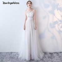 Darlingoddess Robe de Mariage Vintage Boho Beach Wedding Dress 2018 Scoop Open Back Sexy Lace Wedding Dress Real Pictures