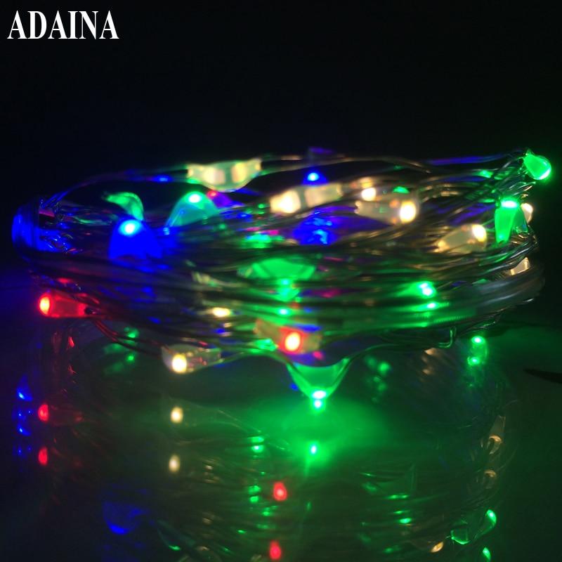 CR2032 15Ft / 5M 50 LED- ები სპილენძის მავთულის შუქები ვერცხლის სიმებიანი შუქისთვის საშობაო განათებისთვის LED Garland Strip საშინაო პარტიის მორთულობა
