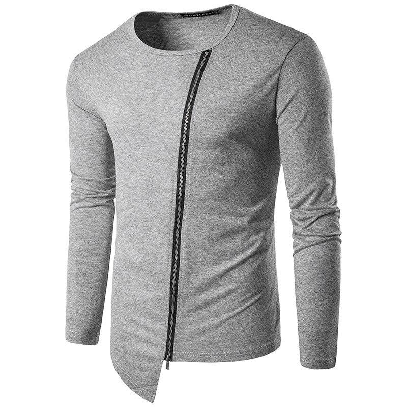 brand Men Fashion tshirts Round Neck Long Sleeve Zipper Irregular Hem Streetwear Hip Hop Style mens clothing T Shirt casual